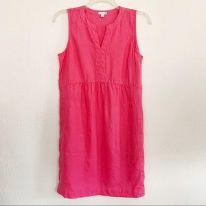 J.Jill Hot Pink 100% Linen A-Line Split-Neck Dress